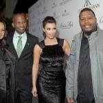 Kim Kardashian poses with the owners of the Brissmor Watch Company: Bright Riley, Chris Mortimer and Suamana &quot;Swoop&quot; Brown (Photo by Vince Tanzilini).