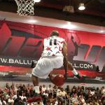 Ball Up All-Stars player Air Up There performing a 360 dunk (Imagez by LB)