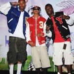 Members of the rap group &#039;Cali Swag District&#039; JayAre, Yung and C-Smoove pose in the press room at the BET Awards &#039;11 held at the Shrine Auditorium on June 26, 2011 in Los Angeles
