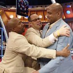 "(L-R) Kenny Smith, Ernie Johnson and Charles Barkley of ""NBA on TNT"""