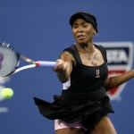 Venus Williams of the United States returns the ball against Vesna Dolonts of Russia during Day One of the 2011 US Open at the USTA Billie Jean King National Tennis Center on August 29, 2011 in the Flushing neighborhood of the Queens borough of New York City.