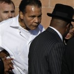 Ali leaves after a memorial service for boxing legend Joe Frazier at the Enon Tabernacle Baptist Church Monday