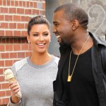 Kim Kardashian and Kanye West out and about in New York on Saturday, April 23, 2012