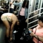 woman pees on subway & showers on nyc subway