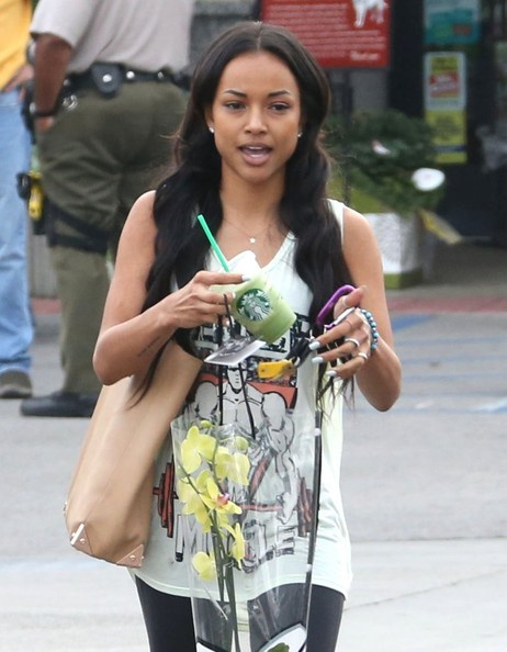 Chris Brown's ex-girlfriend Karrueche Tran and a friend out grocery shopping at Vons in Beverly Hills, California on December 4, 2012