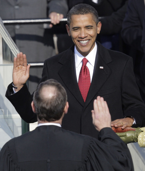 obama taking oath at inauguration