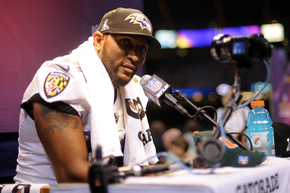 Ray Lewis #52 of the Baltimore Ravens answers questions from the media during Super Bowl XLVII Media Day ahead of Super Bowl XLVII at the Mercedes-Benz Superdome on January 29, 2013 in New Orleans, Louisiana