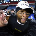 Ray Lewis #52 of the Baltimore Ravens celebrates after defeating the New England Patriots in the 2013 AFC Championship game at Gillette Stadium on January 20, 2013 in Foxboro, Massachusetts.