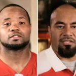 Ahmad Brooks (L) and Isaac Sopoaga
