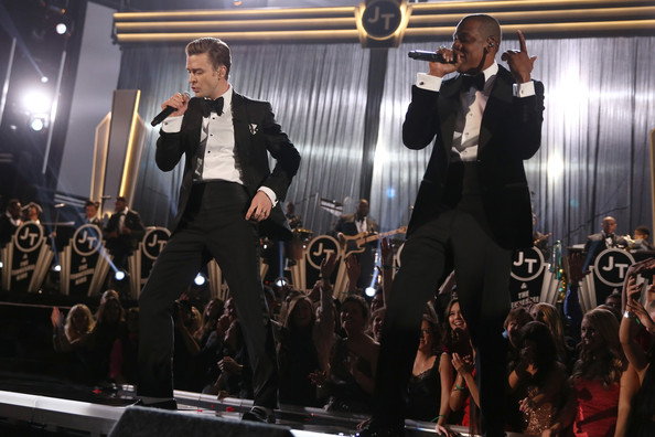 Singers Justin Timberlake and Jay-Z onstage during the 55th Annual GRAMMY Awards at STAPLES Center on February 10, 2013 in Los Angeles
