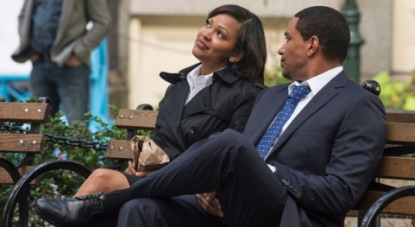 "Meagan Good and Laz Alonso in a scene from NBC's ""Deception"""