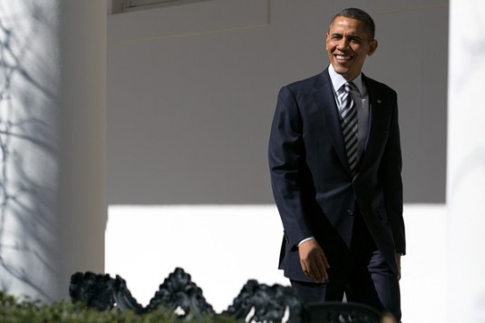 President Barack Obama walks down the colonnade at the White House February 12, 2013 in Washington, DC. Later this evening, the President will deliver his State of the Union address at the U.S. Capitol.