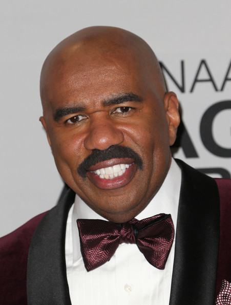 Host Steve Harvey poses in the press room during the 44th NAACP Image Awards at The Shrine Auditorium on February 1, 2013 in Los Angeles