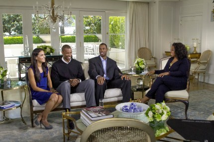 Oprah Winfrey with Jason Collins (right), his twin brother Jarron Collins (center) and sister-in-law Elsa Collins (left) in Los Angeles