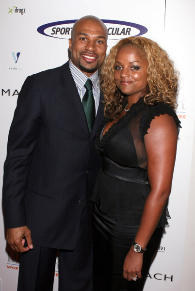Derek Fisher and his wife Candace Fisher arrive at the 2008 Sports Spectacular VIP After Party on June 1, 2008 at the X-Bar at The Hyatt Regency Century Plaza in Century City, California.