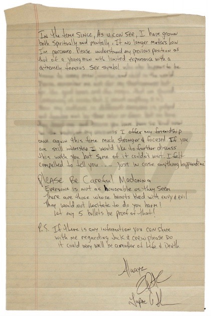Tupac\u0027s Breakup Letter to Madonna Over Race Has Starting Bid of $100