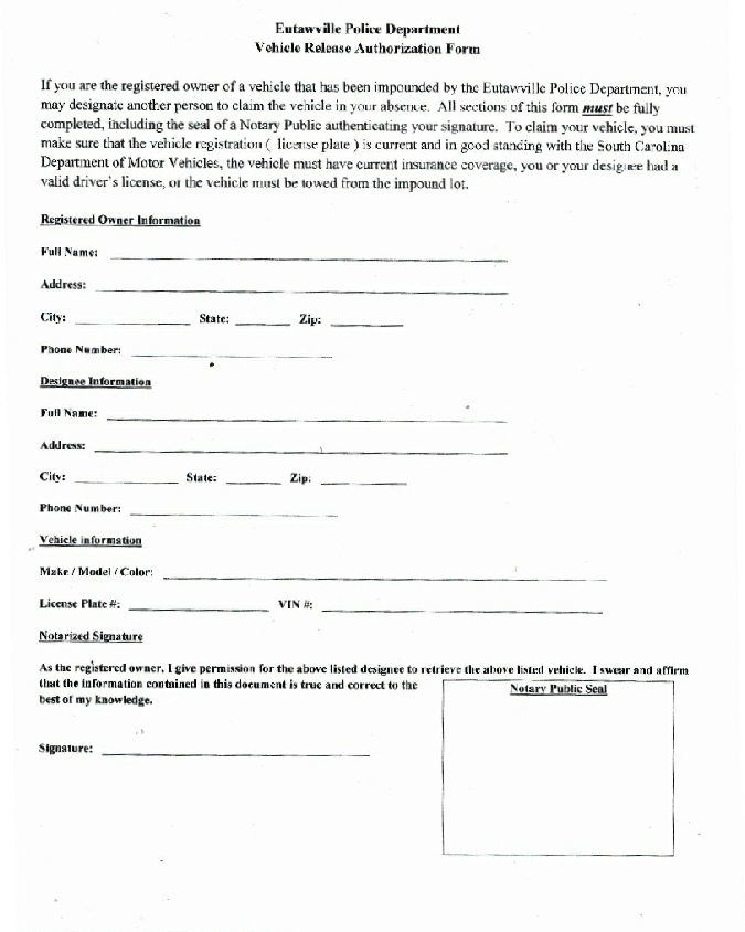 Vehicle Release Authorization Form
