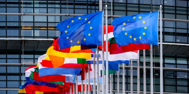 European flags floating in front of the European Parliament Headquarters in Strasbourg