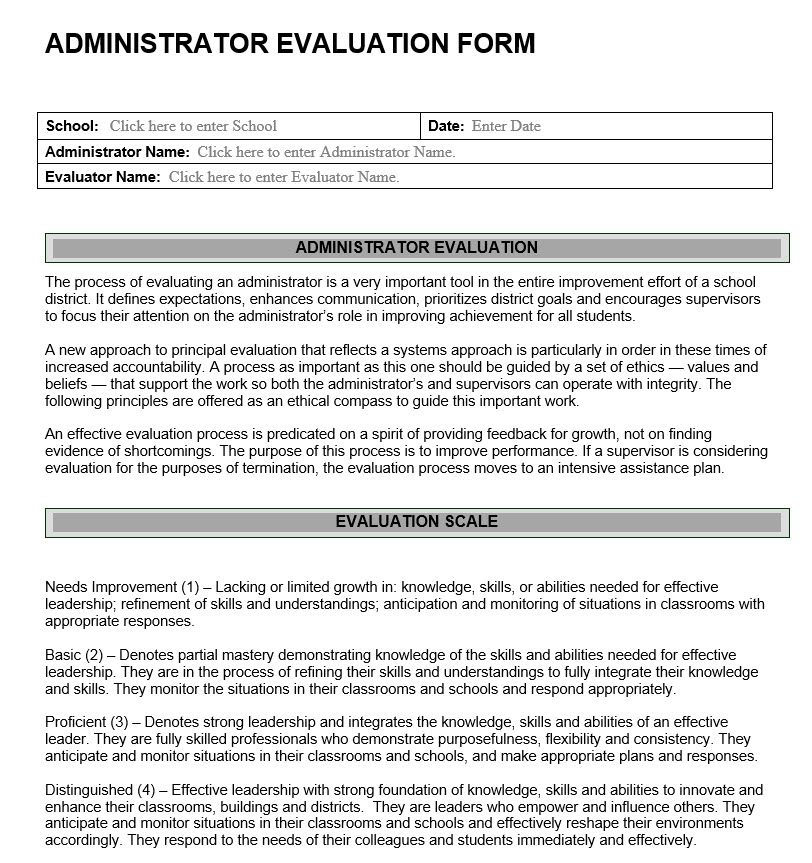 Administrator Evaluation Form Educational Leadership Improvement
