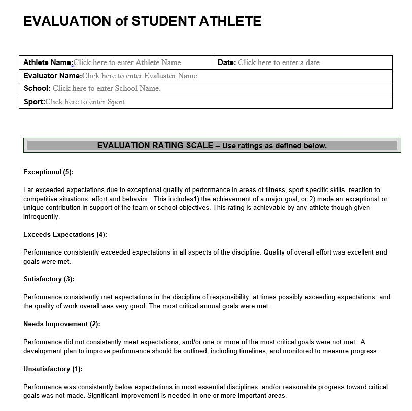 Evaluation of Student Athlete Athletic Performance Evaluation Forms