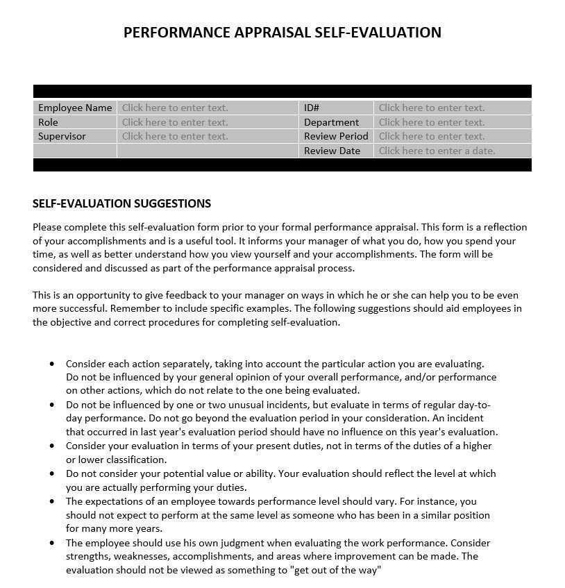 Performance Appraisal Self-Evaluation Business Tools - Self Evaluation Examples For Performance Review