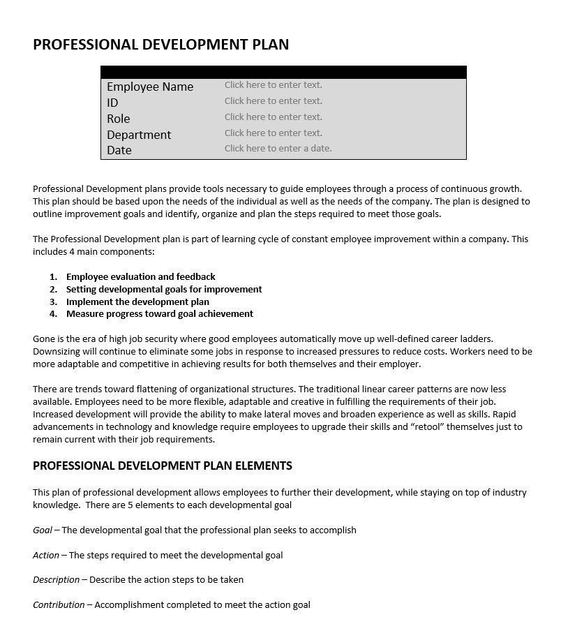 Professional Development Plan Performance Tools - performance improvement plan definition