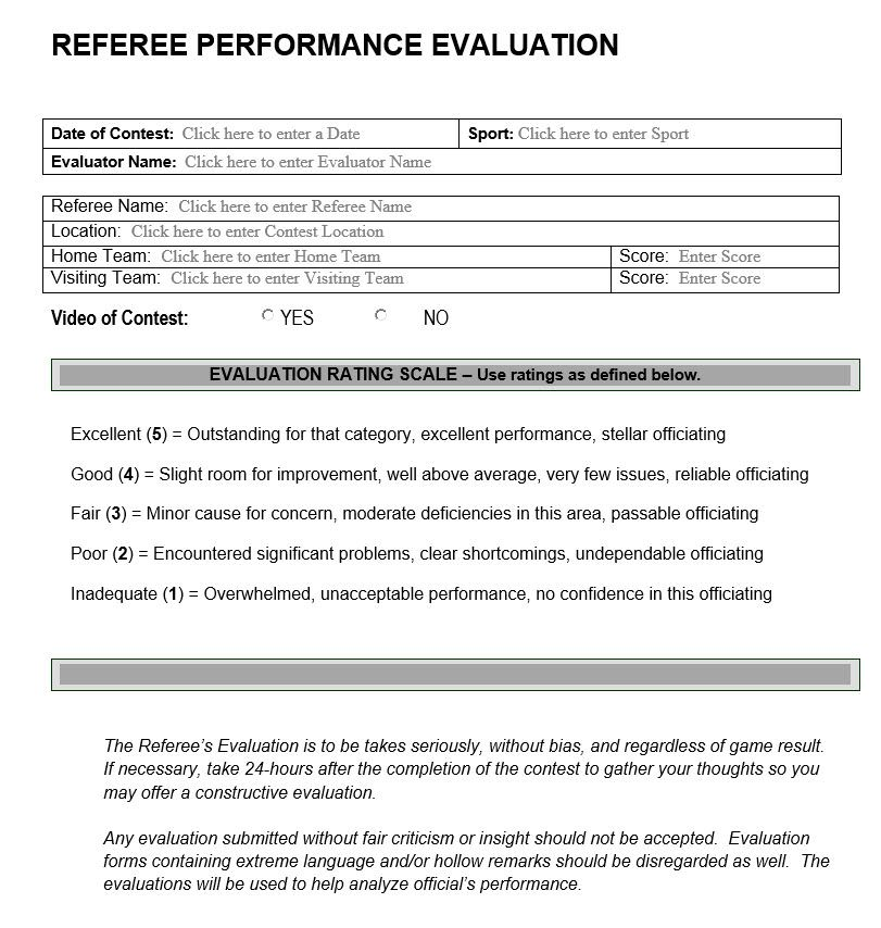 Referee Evaluation Form Sports Performance Apprasial