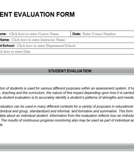 Student Academic Performance Evaluation Form Sample | Jobs Resume