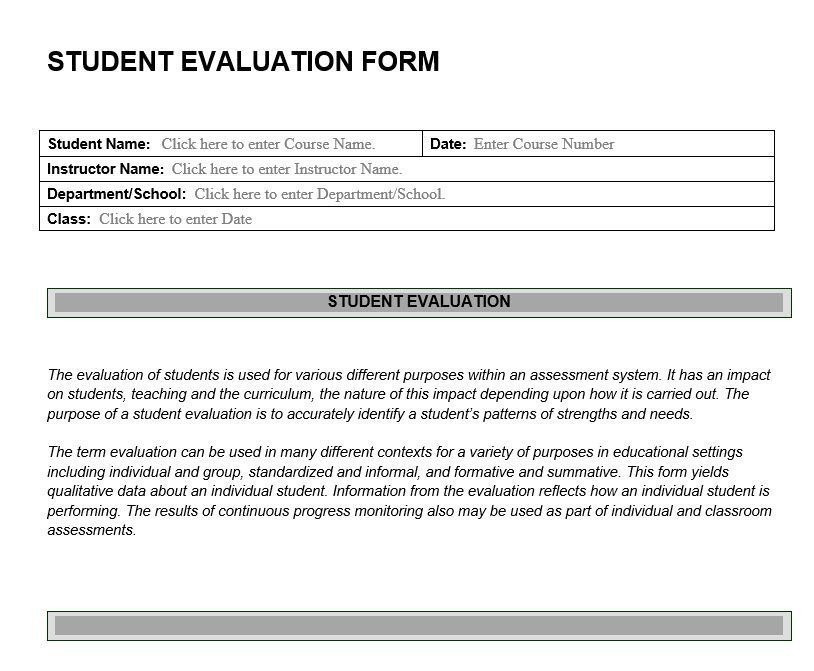 Sample Student Evaluation Form Student Evaluation Form Pdf Form