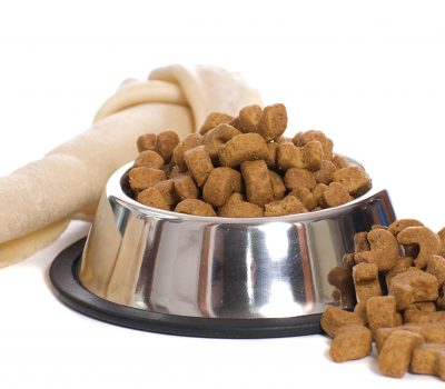 A dog bone and a bowl of dry food in a metal bowl, isolated against a white background