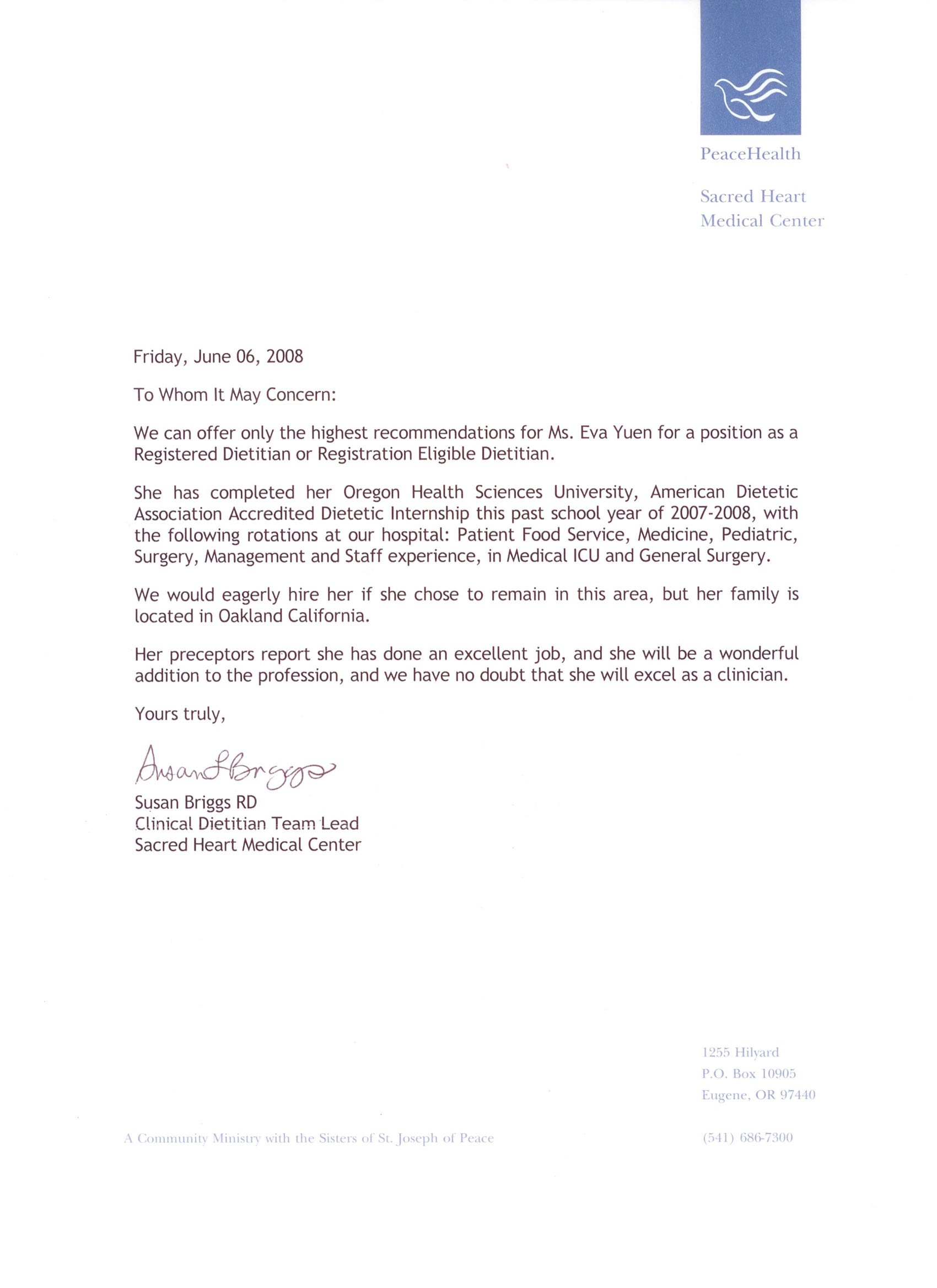 Recommendation Letter For Internship References Nikki Day Blank