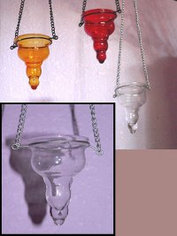 Hanging Glass Tealight Candle Holder in Red/Amber/Clear
