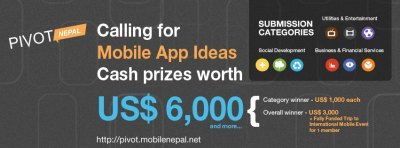 Calling For Mobile App Ideas Cash prizes worth USD 6,000 and more - events in Nepal