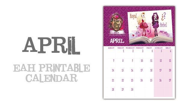Ever After High 2014 Calendar \u2013 April Ever After High