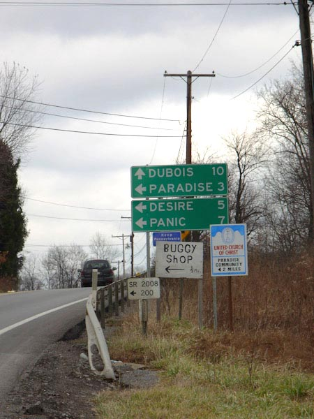 Sign for Paradise, Desire, and Panic, Pennsylvania