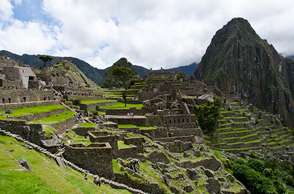 Tourists fill the streets of the remote Incan city of Machu Picchu