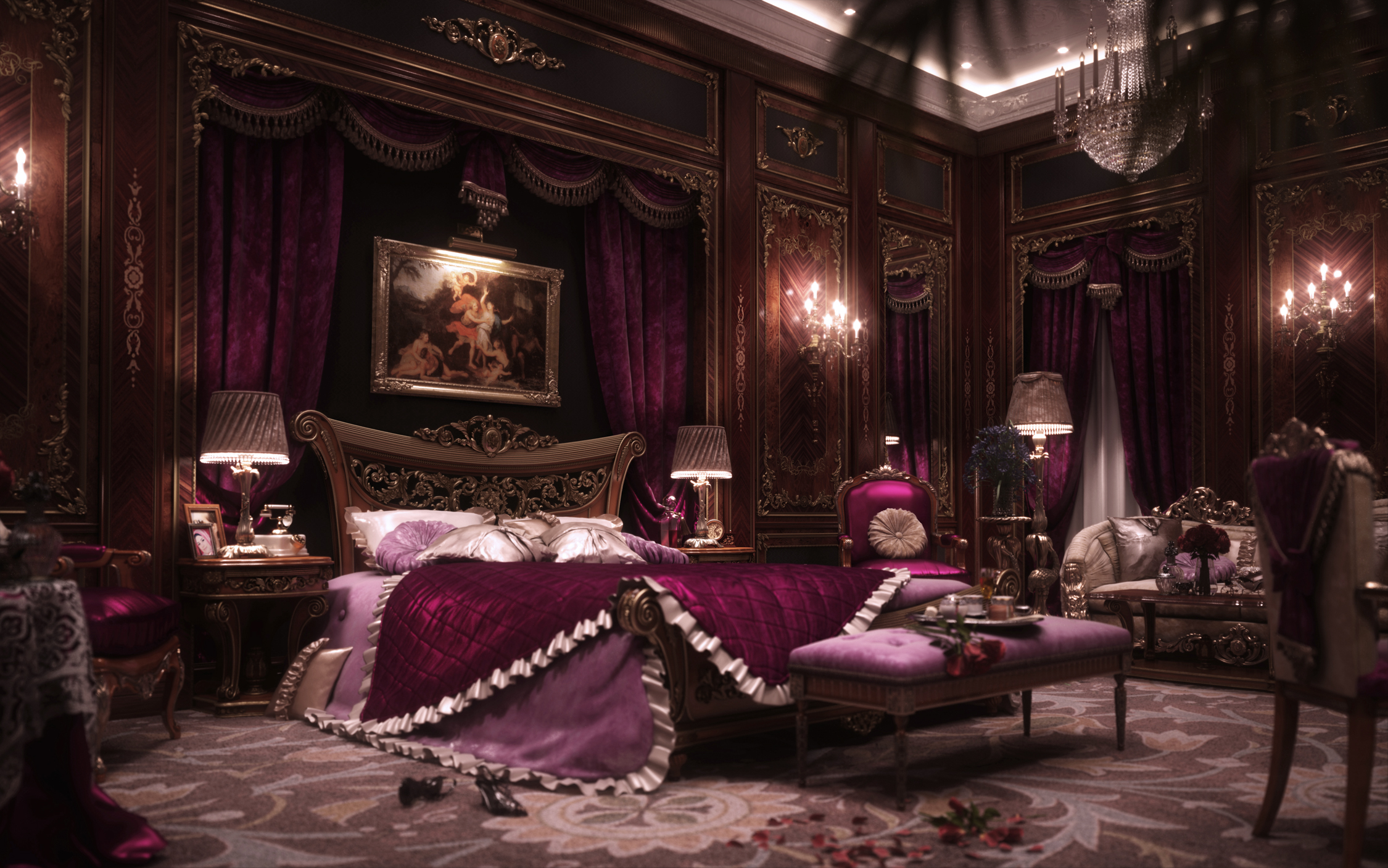 3d Wallpaper For Master Bedroom I Am The King Making Of Luxury Bedroom Evermotion