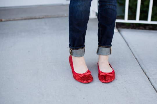 Red sequin portable flats