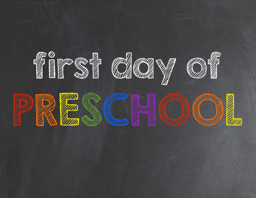 It is an image of Amazing First Day of Preschool Printable Sign