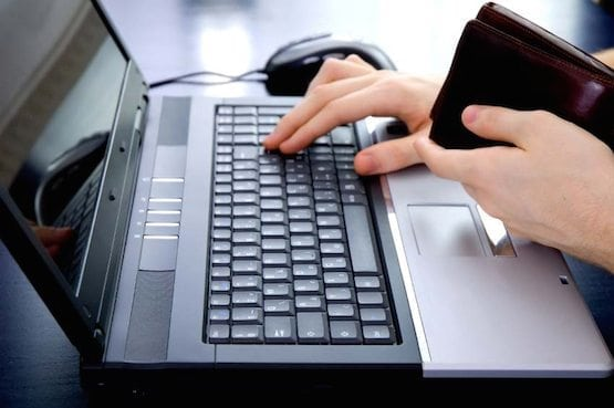 Online payment: paying with wallet in hand