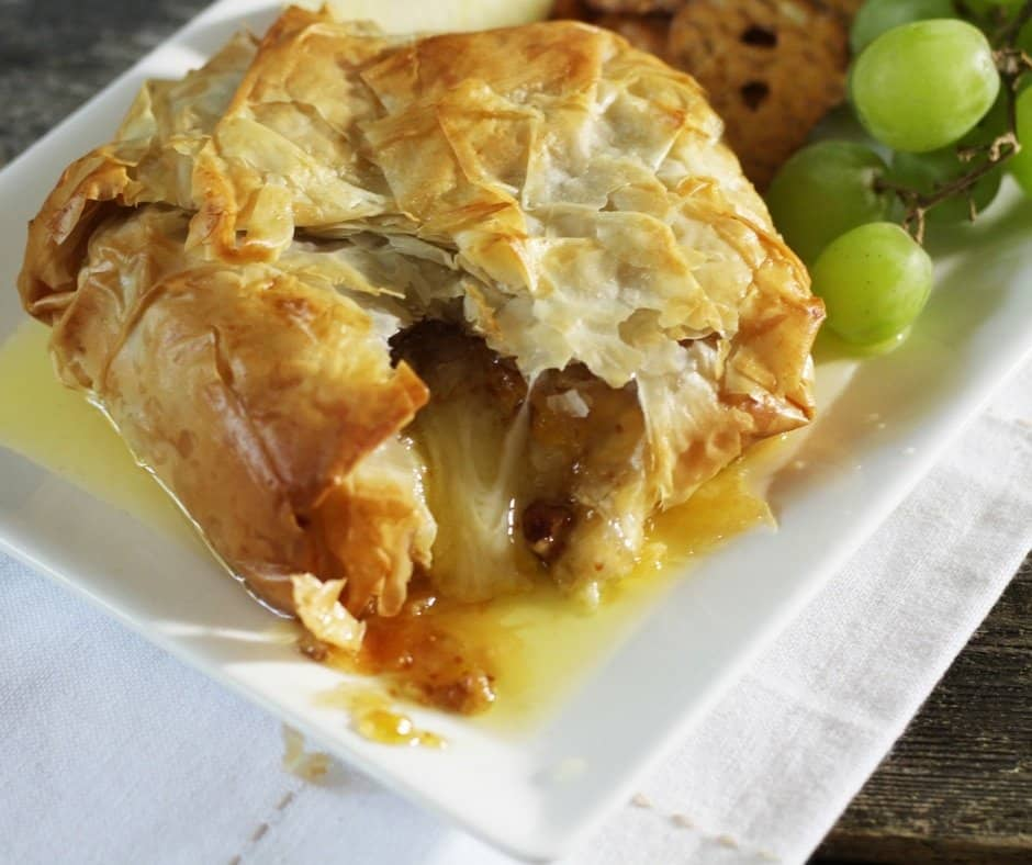 Phyllo Baked Brie with Fig Jam and Crushed Pecans