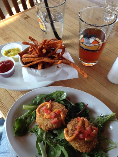 Salmon Cakes, Sweet Potato Fries