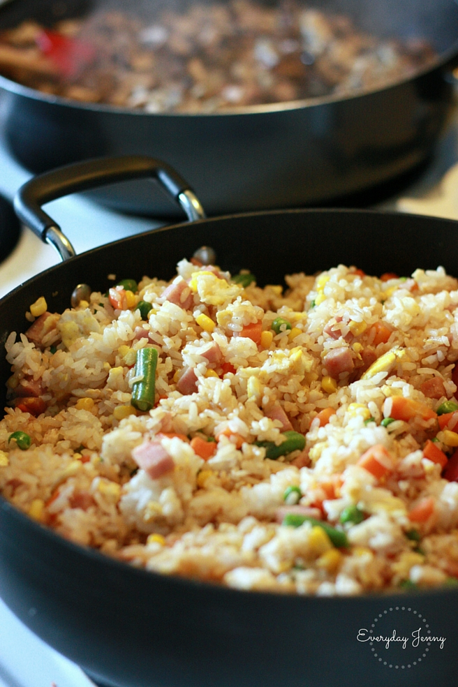 Quick, easy fried rice recipe. A family favorite! Great for a weeknight meal. Recipe on everydayjenny.com