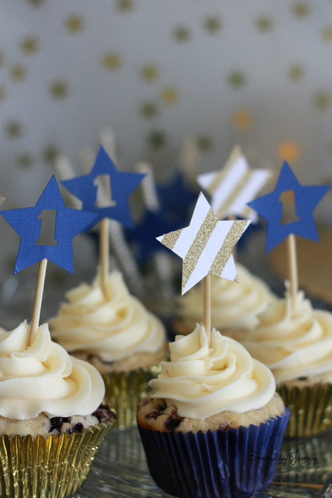 Navy and Gold Twinkle Twinkle Little Star First Birthday Party Cupcakes Up Close