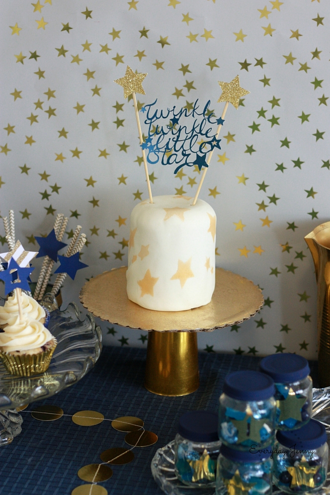 Navy and Gold Twinkle Twinkle Little Star First Birthday Party Table