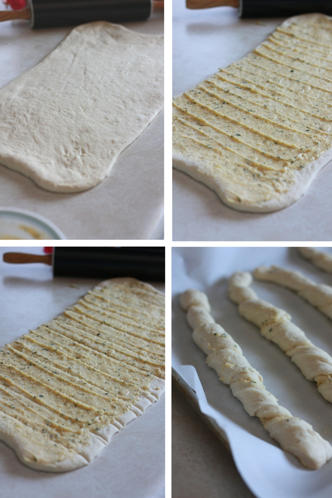 The best twisted garlic parmesan breadsticks. Perfect side for any dinner, especially spaghetti! A family favorite, find the recipe at everydayjenny.com