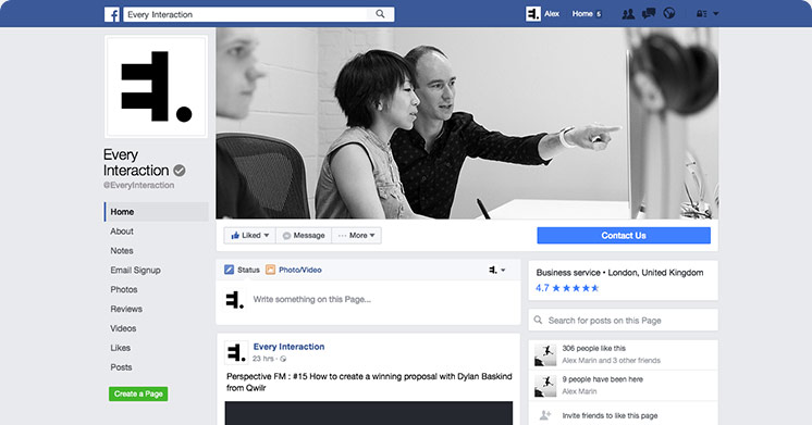 Facebook page GUI PSD/Sketch Template Every Interaction