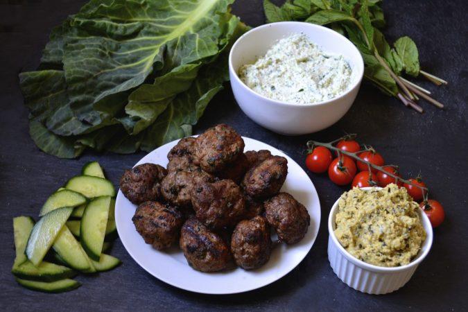 Lamb Collard Wraps with Tzatziki & Hummus