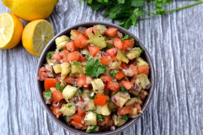 Smoky Eggplant & Tomato Salad