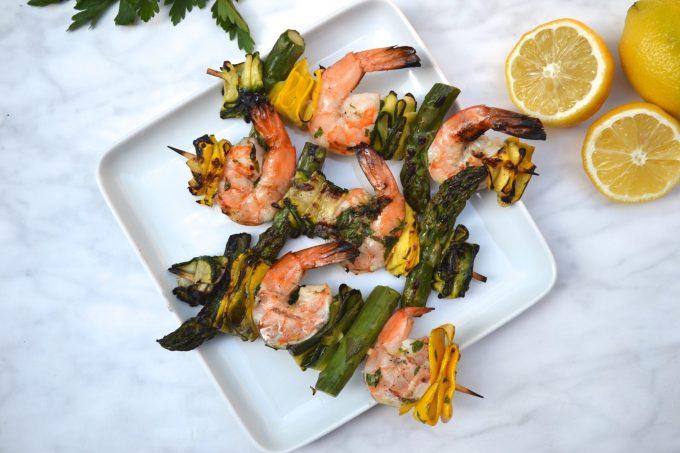 Prawn, Zucchini & Asparagus Skewers